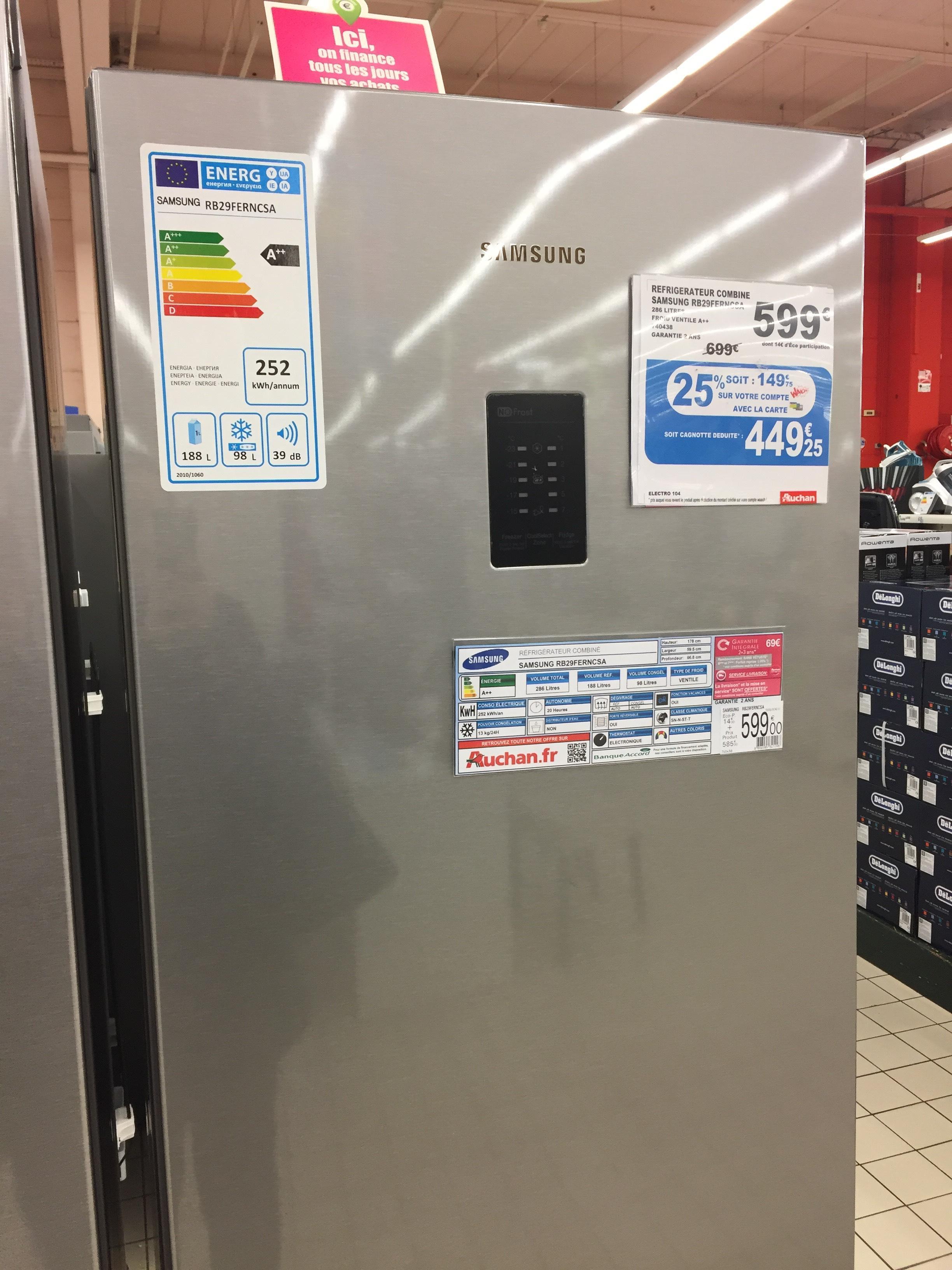 Combiné frigo/congélateur Samsung RB29FERNCSA  (via 149,75€ sur la carte)