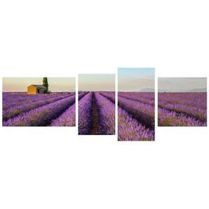 [Cidscount à volonté] Tableau Multi Panneaux Champ Lavande sur toile 160x60 cm violet