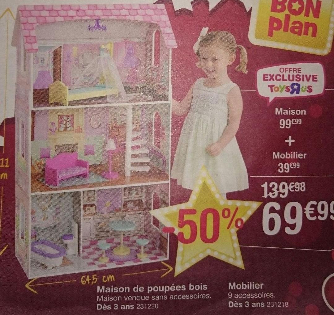 Pack Maison de poupée (111x64.5 cm, en bois) + mobilier