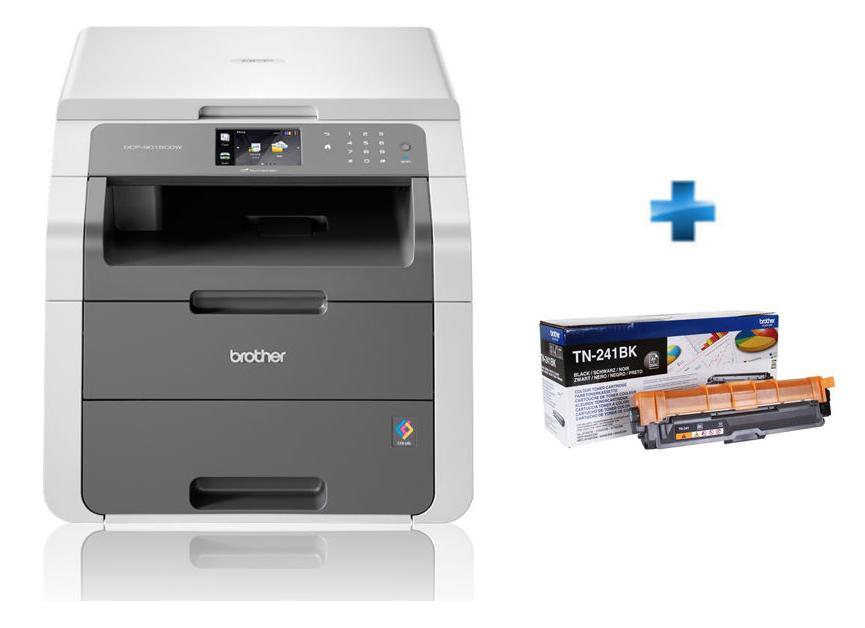 Imprimante multifonction Brother DCP-9015CDW - Laser, Couleur + Cartouche de toner Noir TN241BK