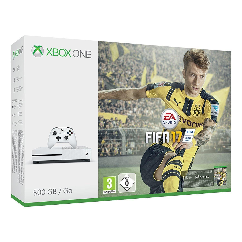Pack console Microsoft Xbox One S (500 Go) + FIFA 17 + 6.5€ de réduction sur l'abonnement Xbox Live 3 mois