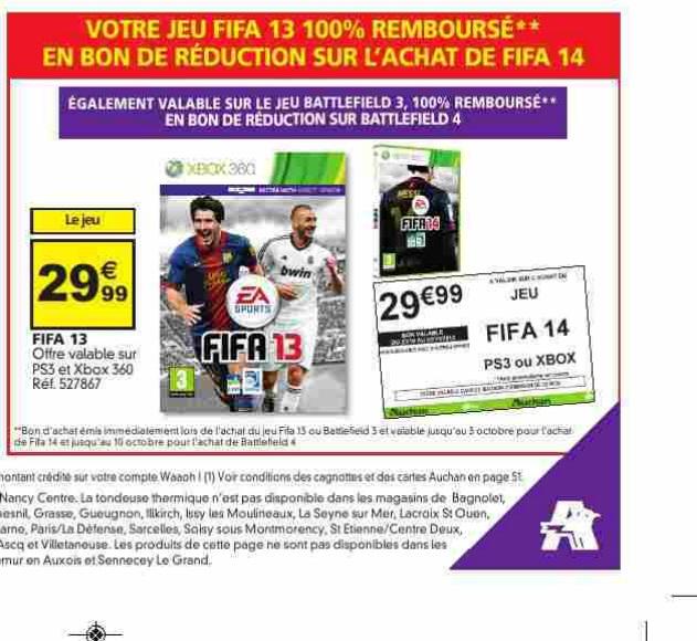 Pour l'achat de Fifa 2013 ou Battlefield 3 : Recevez 100% de la somme en bon d'achat à valoir sur Battlefield 4 ou Fifa 14 (PS3/X360)