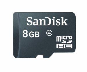 Carte microSDHC SanDisk 8 Go avec Adaptateur Classe 4