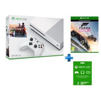 Console Microsoft Xbox One S 500 Go Battlefield 1 + Forza 3 + abonnement 3 mois