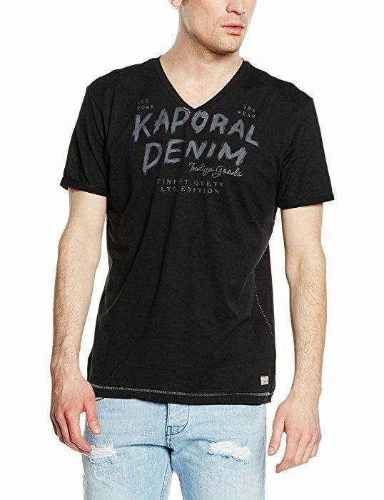T-shirt Imprimé Kaporal Proki en Col V à Manches courtes pour Hommes - Noir
