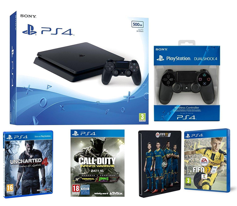 Sélection de pack PS4 Slim en promotion - Ex : pack PS4 Slim 500 GB + Fifa 17 ( + Steelbook) + COD Infinite Warfare + Uncharted 4 + Manette supplémentaire