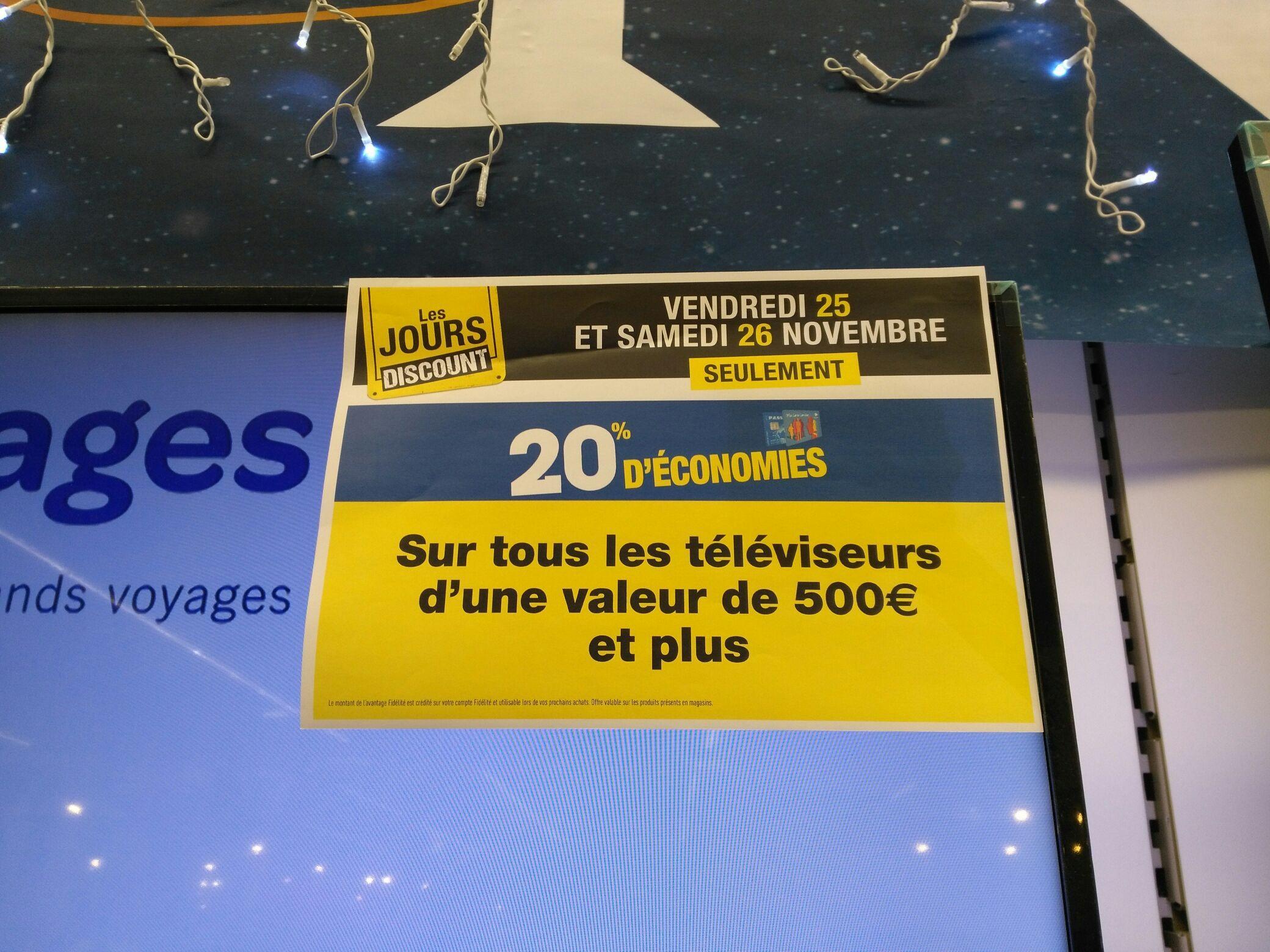 20% crédités sur la carte de fidélité sur les TV (de plus de 500€)