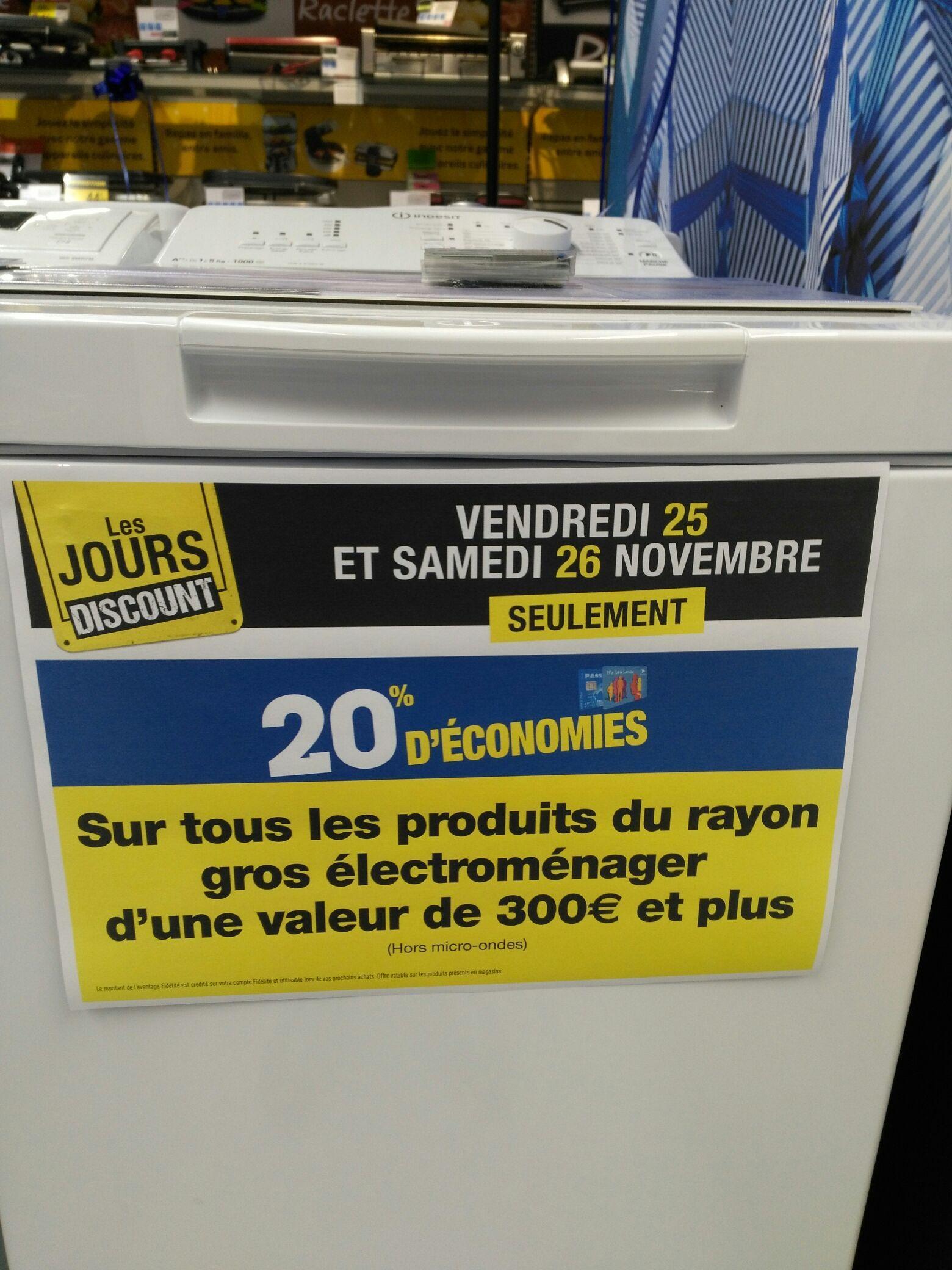 20% crédités sur la carte de fidélité sur le gros électroménager dès 300€ d'achats