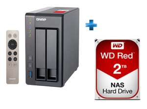 Nas Qnap TS-251+ (2 baies, Quad Core, RAM 2 Go) + Disque dur interne 3.5'' WD Red 2 To