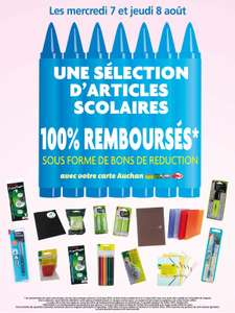 Sélection de produits scolaires 100% remboursé