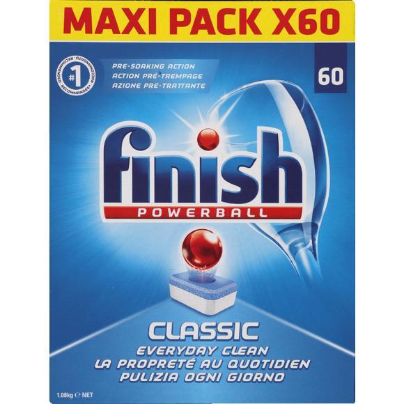 2 paquets de tablettes lave vaiselle Finish powerball-classic MaxiPack de 60