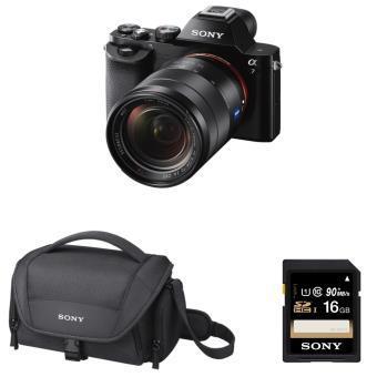 Pack hybride Sony A7 + Objectif 28-70 mm f/3.5-5.6 + Housse + Carte mémoire SD 16 Go