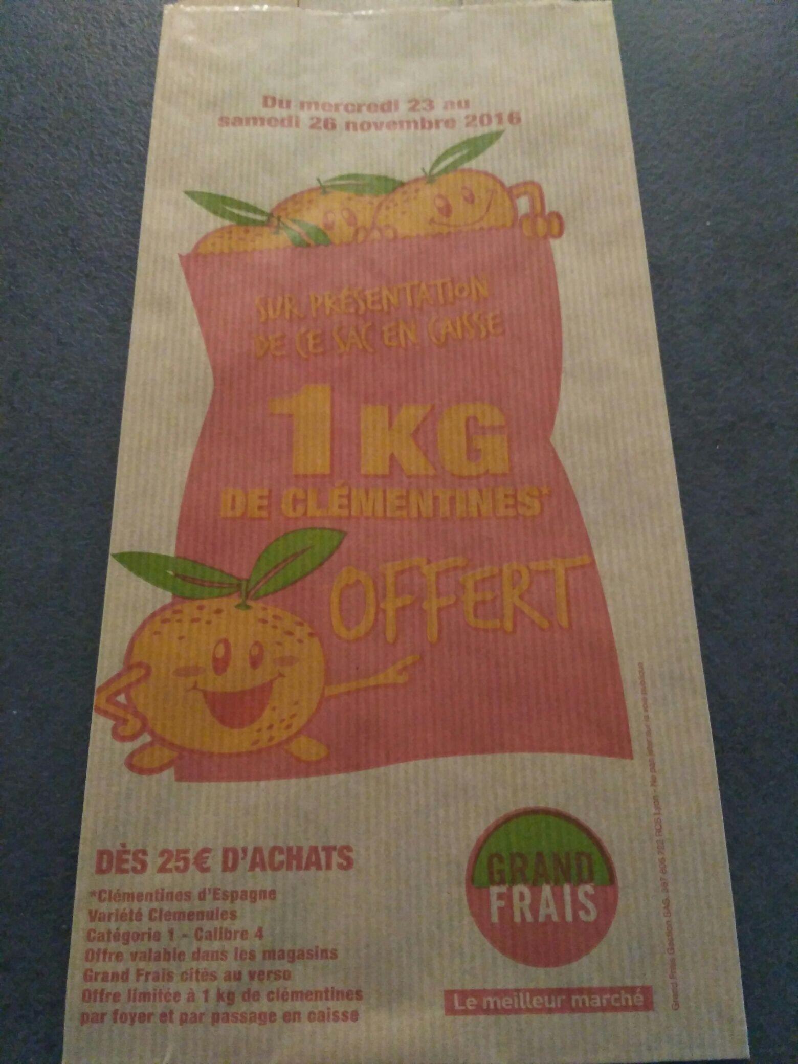 1kg de Clémentine offert dès 25€ d'achat