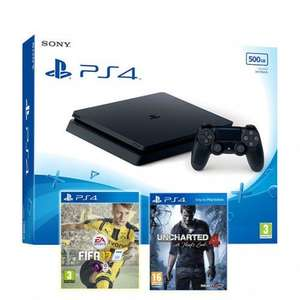 Pack Console Sony PS4 Slim 500Go + Uncharted 4: A Thief's End + Fifa 17
