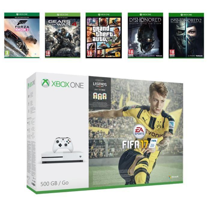 Sélection de packs - Ex : Microsoft Xbox One S 500 Go + FIFA 17 + Forza Horizon 3 + Gears of War 4 + GTA V + Dishonored Definitive Ed. (DLC) + Dishonored 2