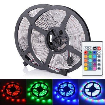 Lot de 2 rubans LED RGB à Telecommande - 2x 5m