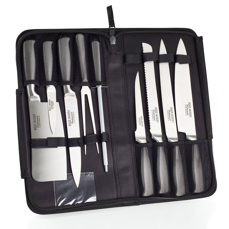 Lot de couteaux de chef Ross Henery Professional Eclipse en acier inoxydable - 9 Pièces + Etui de transport