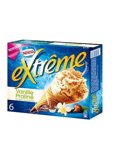3 paquets de 6 cônes eXtrême Vanille-praliné Nestlé