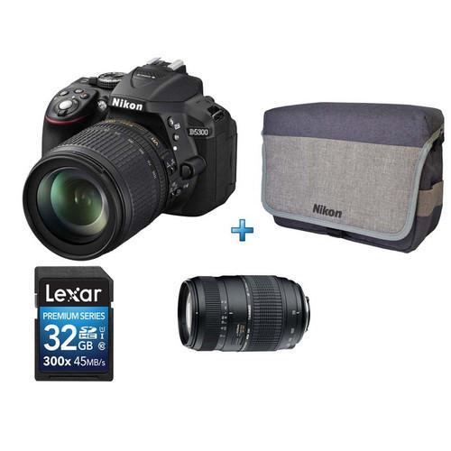 Reflex Nikon D5300 + Objectif AF-S 18-55 mm + AF 70-300 mm + Carte SD 32 Go + Sac