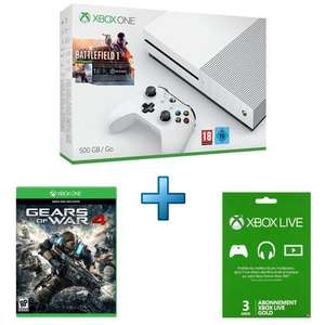 Microsoft Xbox One S 500 Go + Battlefield 1 + Gears Of War 4 + LIVE Gold 3 mois