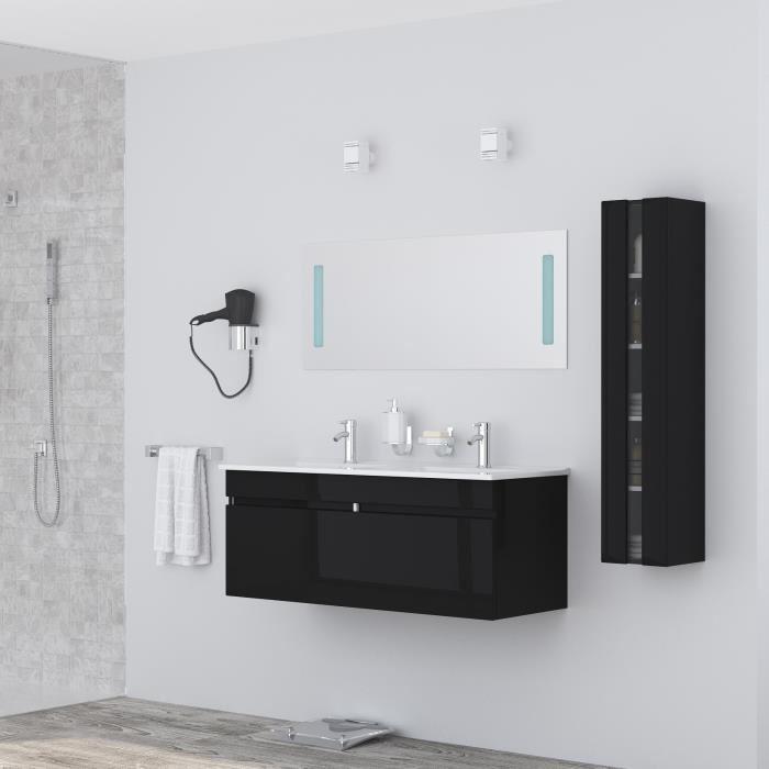 Salle de bain complète double vasque 120 cm - Laqué noir brillant Alban