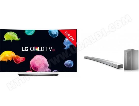 "TV incurvée 55"" LG OLED55C6V (4K UHD, OLED, 3D) + barre de son 4.1 LG LAS855M (via ODR de 500€)"