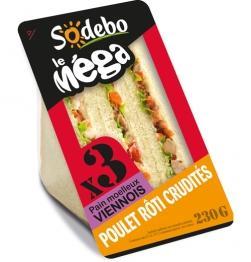 Sandwichs Sodebo Méga (3 sandwichs) Poulet Crudité Mayonnaise