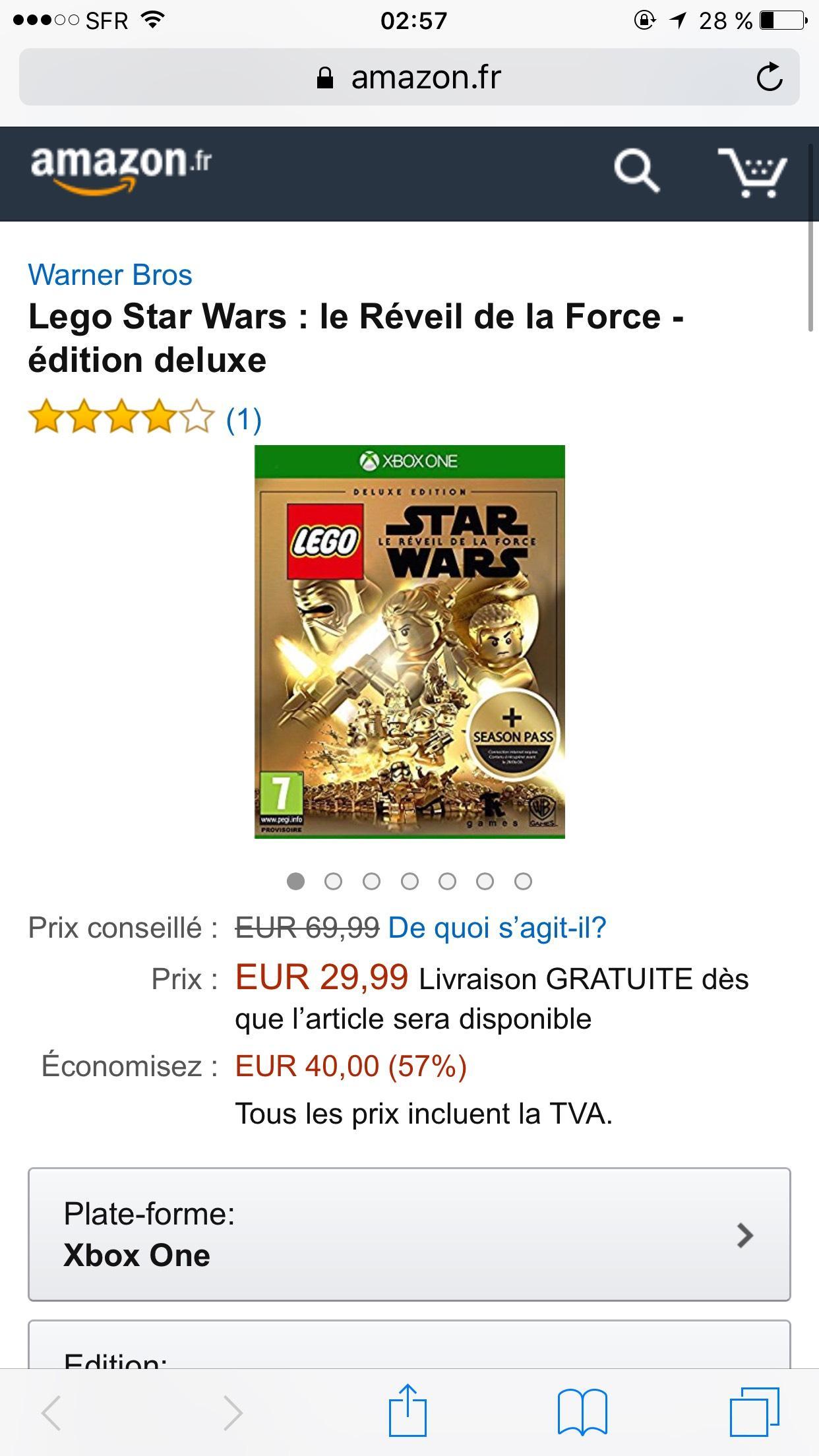 Lego Star Wars : le Réveil de la Force - Edition deluxe sur Xbox One