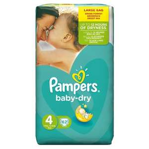 Sélection de Pack de couches Pampers en promo - Ex : Couches Pampers Baby Dry Taille 4 - 7 à 18kg - 62 Couches