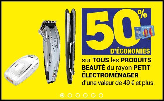 50% crédités sur la carte fidélité sur tous les produits beauté du petit électroménager