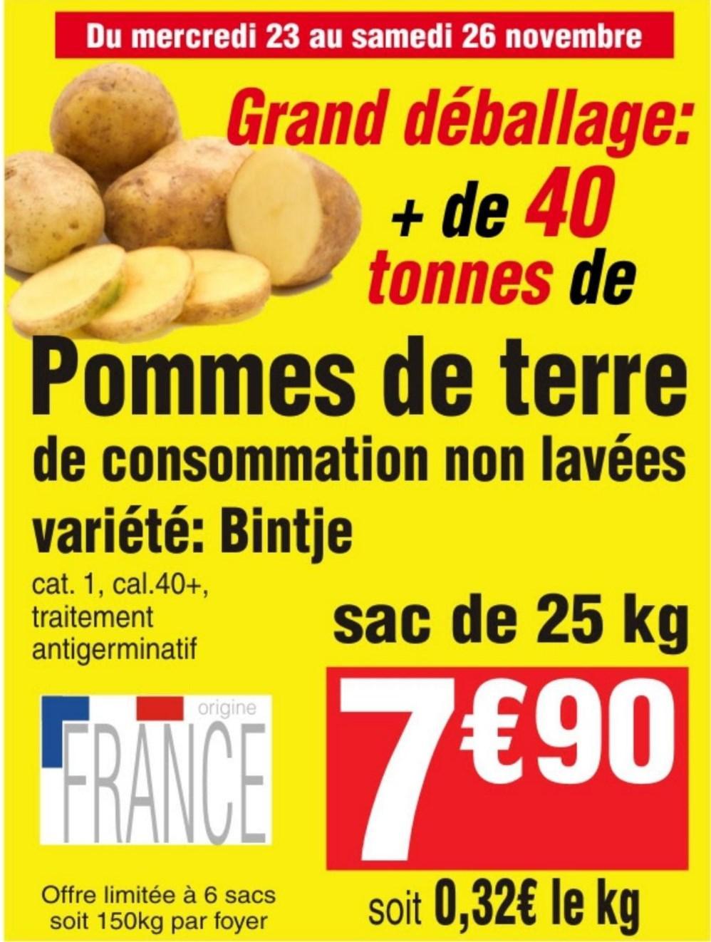 Sac de 25 Kg de Pommes de terre - Catégorie 1, Calibre 40+