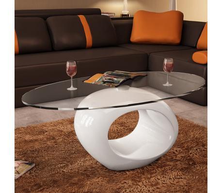 Table basse de salon en verre avec pied blanc laqué