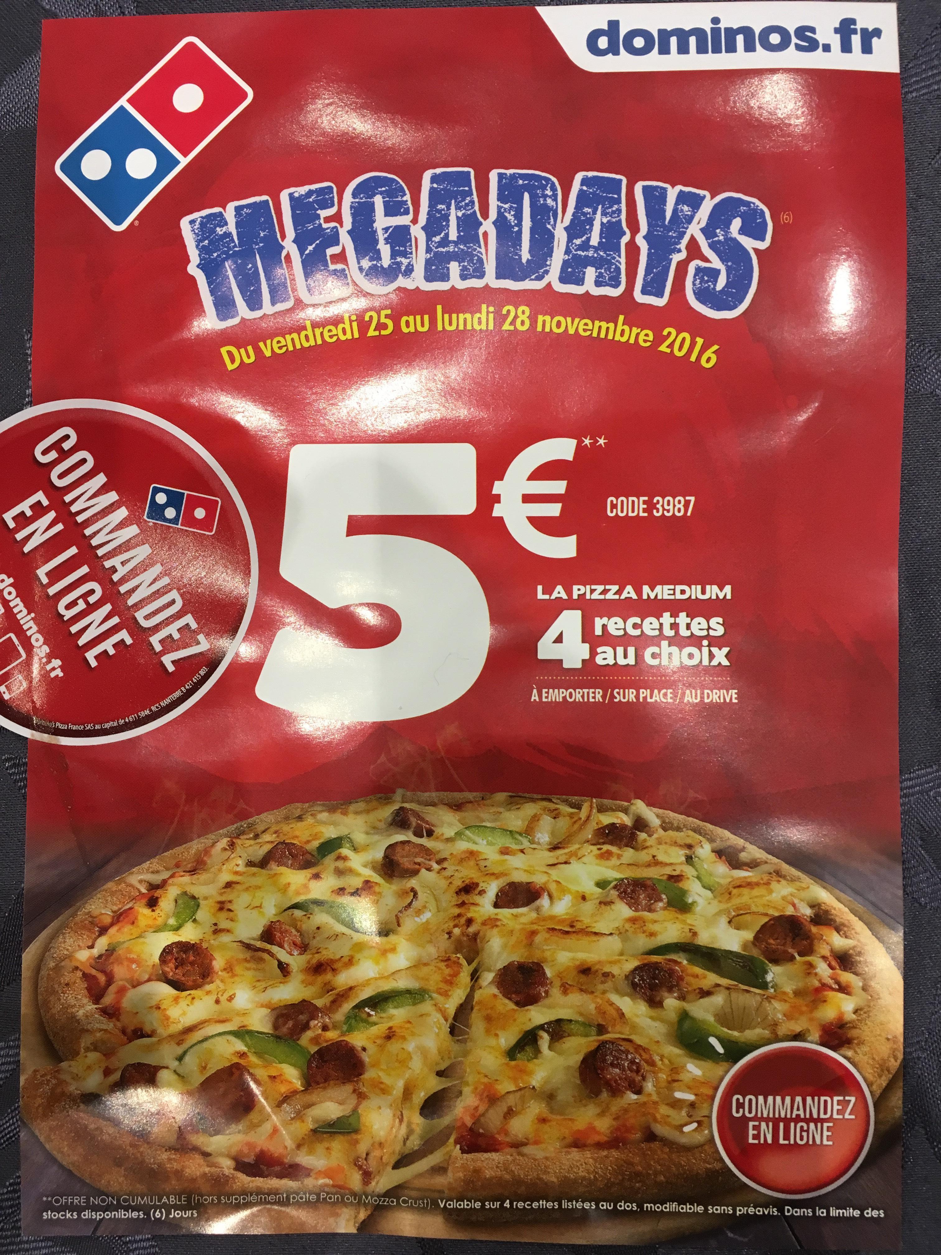 4 Variétés de Pizza au choix - Taille Médium