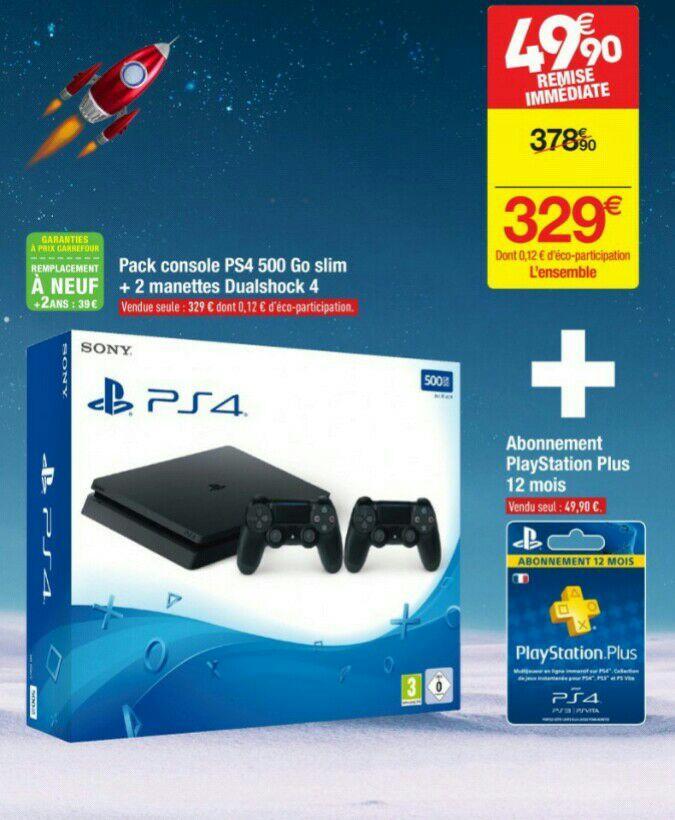 Pack Console PS4 Slim - 500Go + 2ème Manette + 12 mois d'abonnement au PlayStation Plus