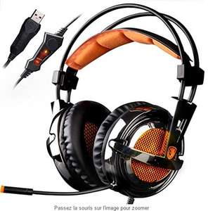 Casque-micro Gaming SADES A6 Noir / Orange pour PC - Surrount 7.1