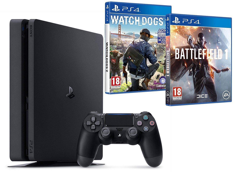 Pack Console PS4 500Go + Battlefield 1 + Watch Dogs II