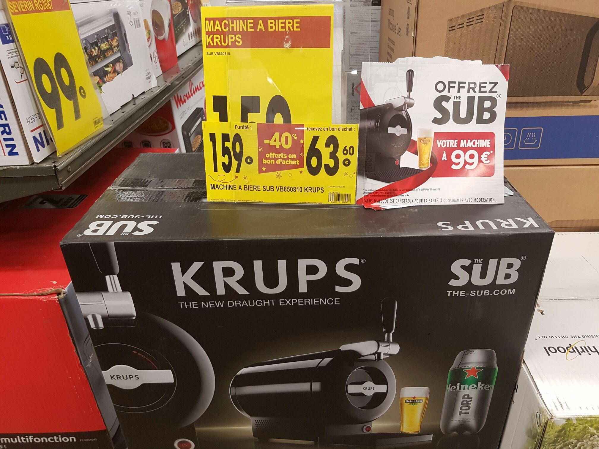 Machine à bière Krups the Sub VB650810 (avec 63.6€ en bon d'achat valable du 28/11 au 04/12 + ODR)