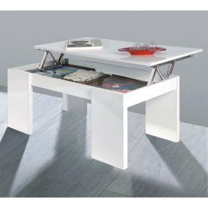 Table basse Kendra avec plateau relevable - Blanche