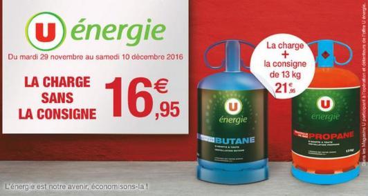 Recharge de gaz U énergie 13 kg sans consigne - Butane ou Propane