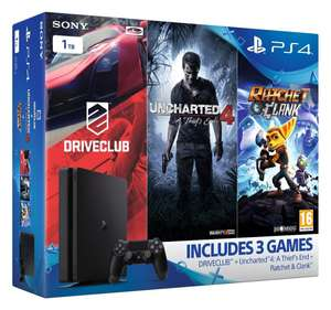 Pack console Sony PS4 Slim 1 To +  3 jeux: Uncharted 4, Ratchet and Clank, DriveClub