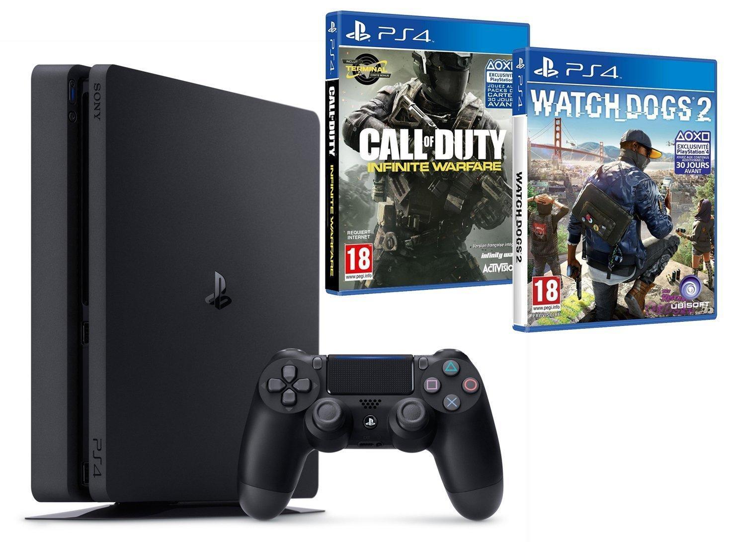 Console Sony PS4 Slim 500 Go + Watch Dogs 2 + Call of Duty Infinite Warfare