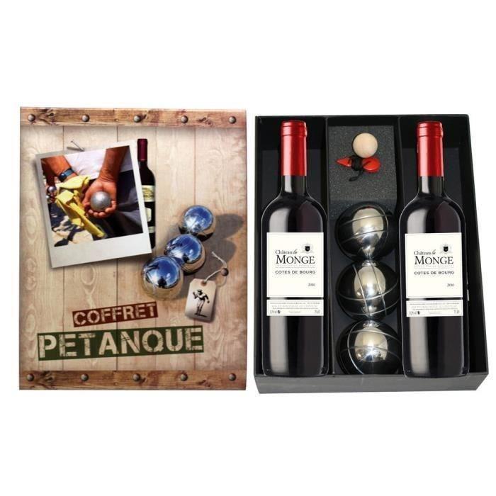 Coffret pétanque avec 2 bouteilles de vin rouge La Monge 2013 Côtes de Bourg (75cl)