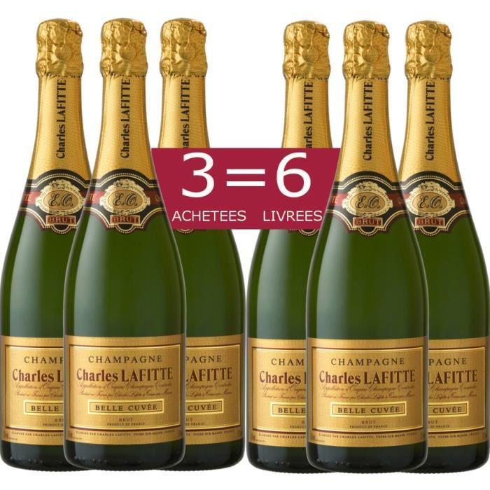 6 bouteilles de Champagne Charles Lafitte Belle Cuvée Brut
