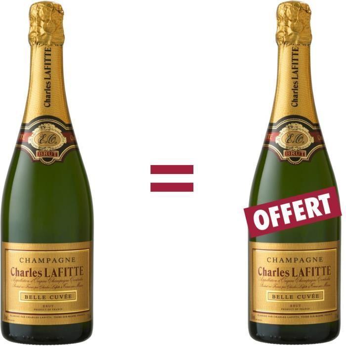 Lot de 2 bouteilles de Champagne Brut Belle Cuvée Charles Lafitte