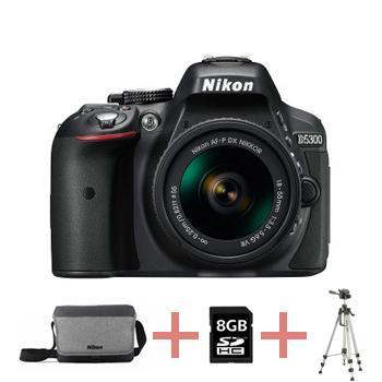 Appareil photo numérique Reflex Nikon D5300 + AF-P 18-55 + Sacoche + Carte 8Go + Trépied