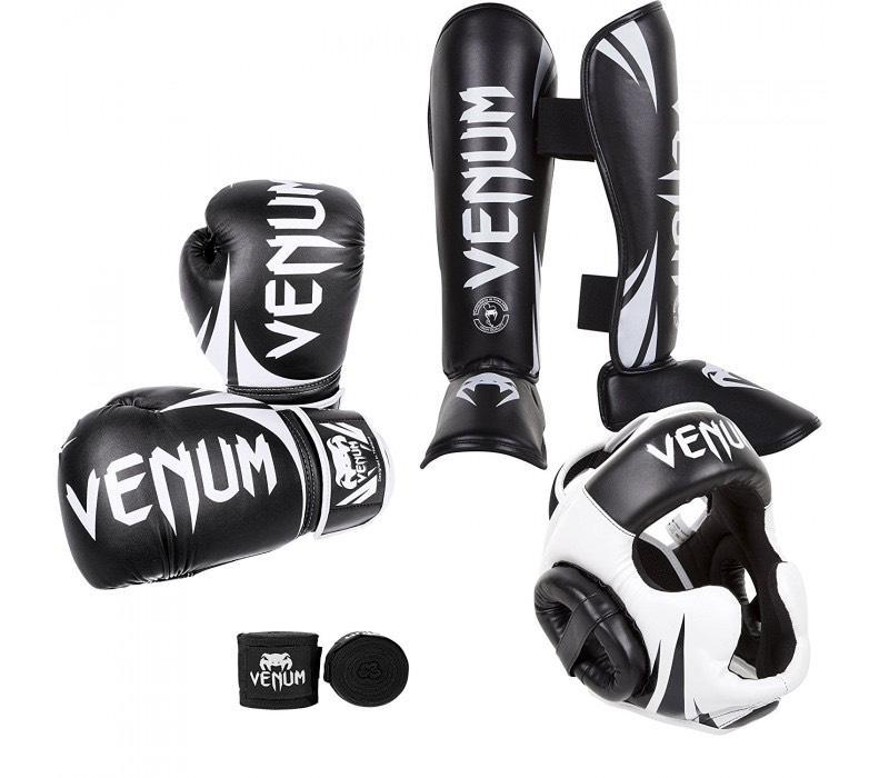 Pack Boxe Venum -  Casque de protection + Protections tibias et pieds + Gants