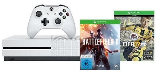 Pack Console Xbox One S - 500 Go + Fifa 17 + Battlefield 1 OU + Fifa 17 et 2ème Manette