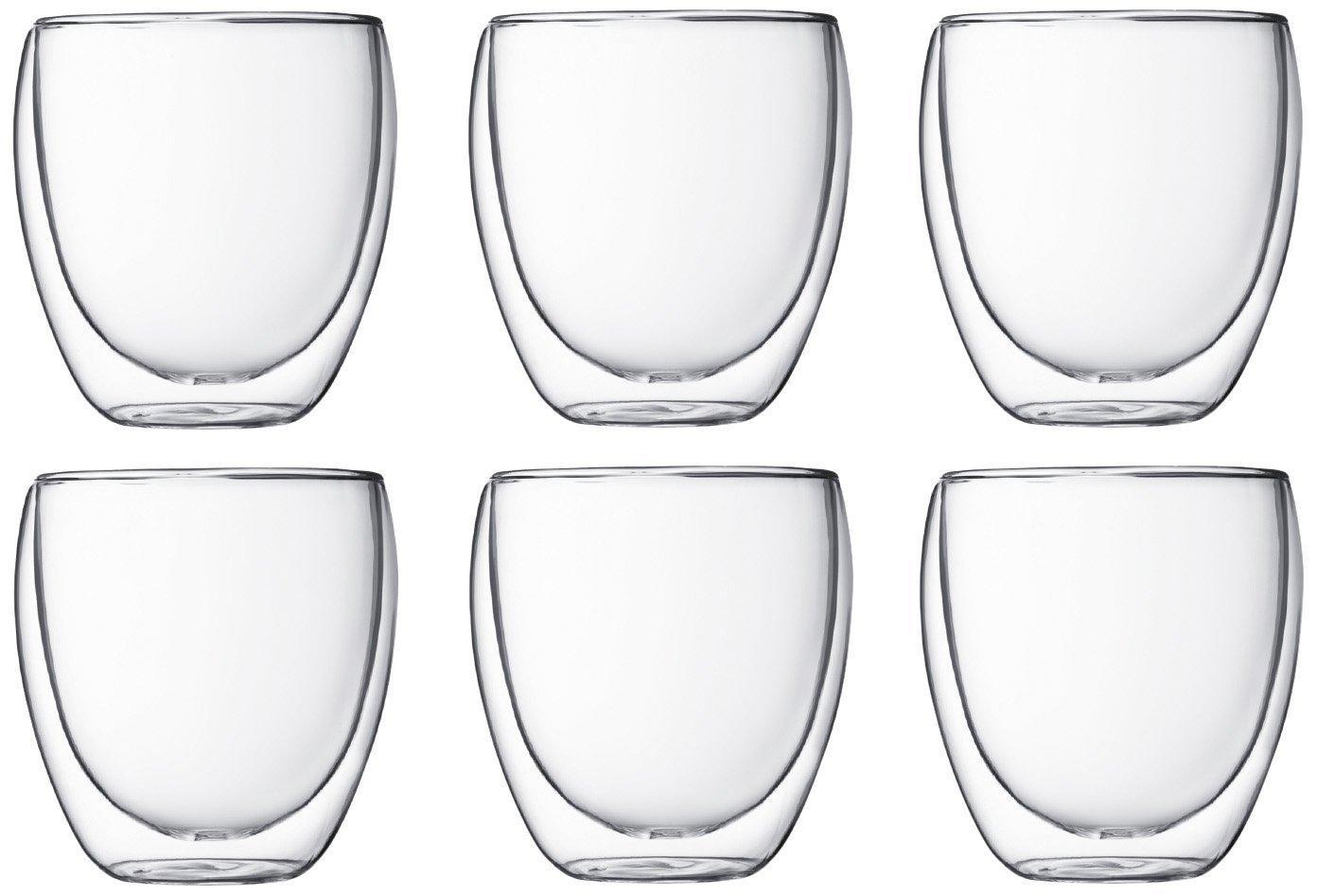 Coffrets de 6 verres Bodum Pavina - 35 cl à 34.99€, 8 cl à 22.99€, 25 cl