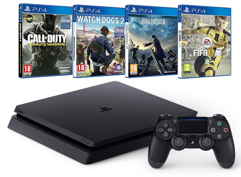 Pack Console PS4 Slim - 500Go + FIFA 17 + Call of Duty Infinite Warfare + Final Fantasy XV + Watch Dogs 2