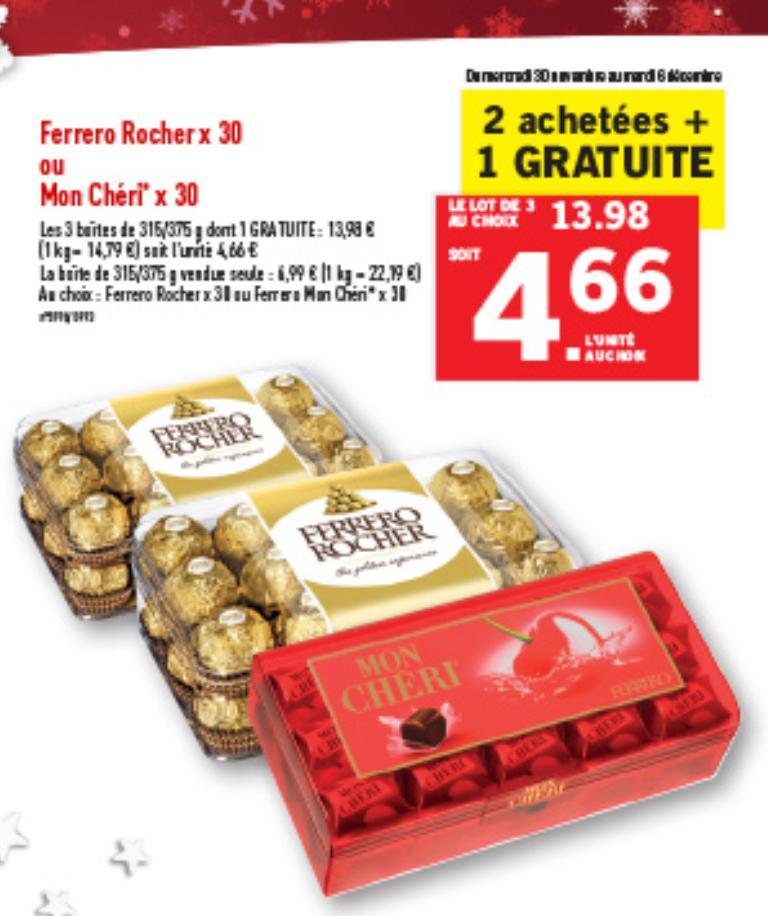 3 Boîtes de chocolat au choix pour le prix de 2 - Ex: Lot de 2 Ferrero Rocher (x30) + Mon Chéri (x30)